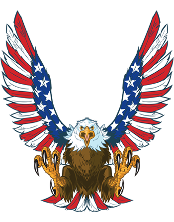 American Eagle with Flag colors on wings